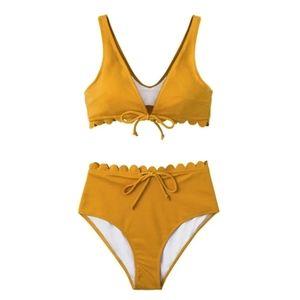 Cupshe Swim - Mustard Scallop High-Waisted Bikini